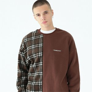 [TENBLADE] Serif logo check sweat shirt-brown