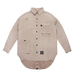 [STIGMA]WASHED TECH OVERSIZED SHIRTS - BEIGE