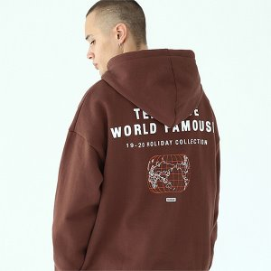 [TENBLADE] World map hoodie-dark-brown