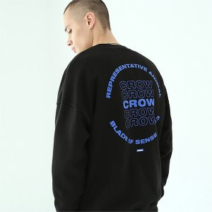 [TENBLADE] Crow sweat shirt-black