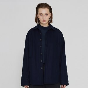 [IRONYPORNO]UNISEX WOOL BASIC SHIRT JACKET IRO014 NAVY
