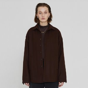 [IRONYPORNO]UNISEX WOOL BASIC SHIRT JACKET IRO014 BROWN