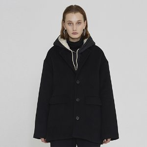 [IRONYPORNO]UNISEX WOOL SINGLE SHORT COAT IRO010 BLACK
