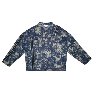 [WOOVING] STAINED DENIM JACKET - BLUE