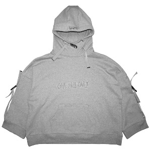 [WOOVING] BUCKLE UP HOODIE - GRAY