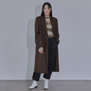 [XYZ] UNISEX DESTROYED DOUBLE WOOL COAT - BROWN
