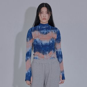 [XYZ] TIE DYE GLOVES TURTLENECK - BLUE & PINK