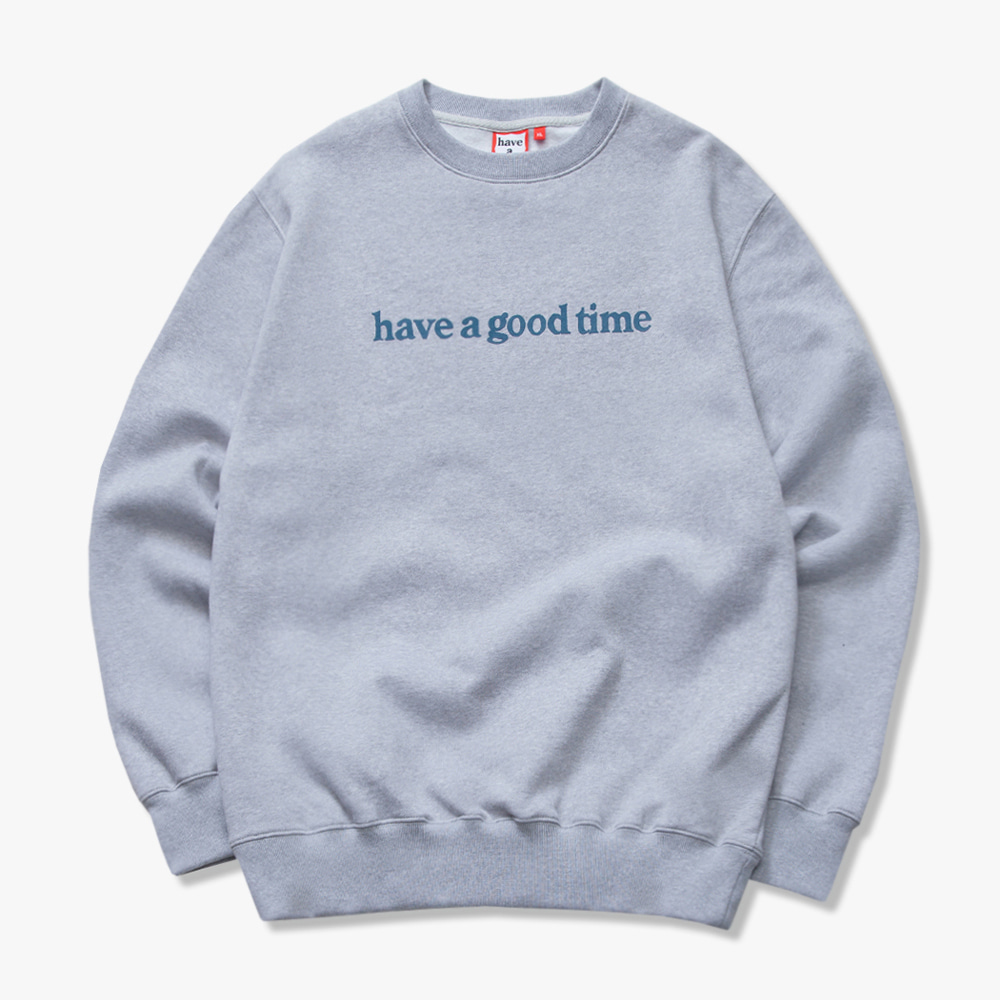 [have a good time] SIDE LOGO CREWNECK - Heather Grey