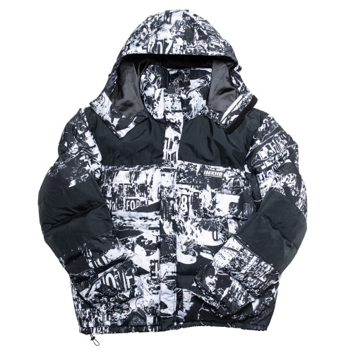 TORN PICTURES HEAVY WEIGHT DUCK DOWN JACKET - WHITE/BLACK