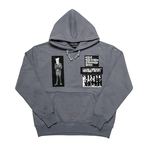 PLASTIC FACE PATCHED HOODIE - DARK GREY