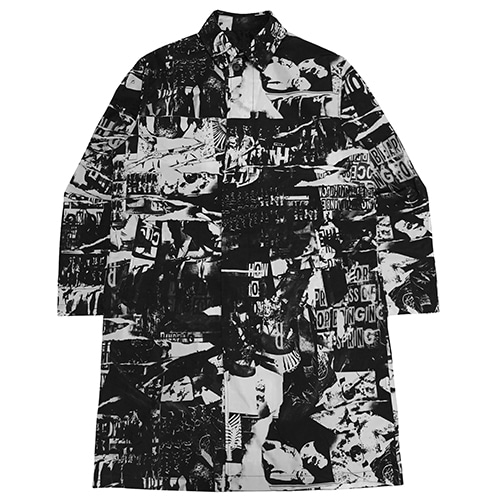 TORN PICTURES ALL PRINT MAC COAT - O/C