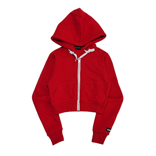 [18FW] LOGO PATCHED CROP ZIP-UP HOODIE - RED